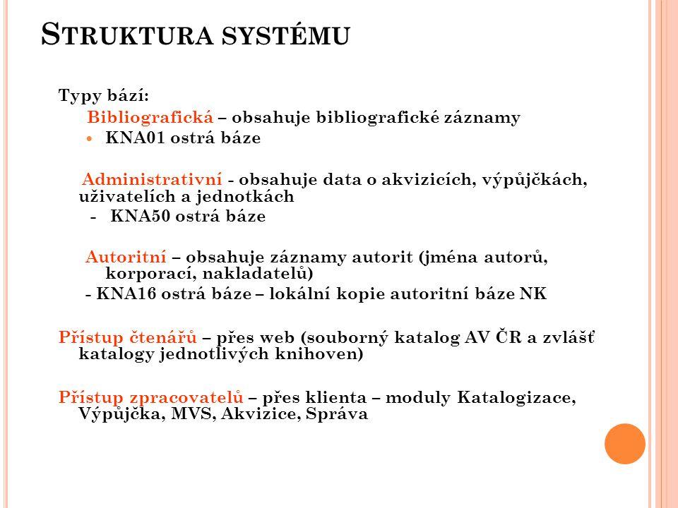 S TRUKTURA SYSTÉMU Typy bází: Bibliografická – obsahuje bibliografické záznamy  KNA01 ostrá báze Administrativní - obsahuje data o akvizicích, výpůjčkách, uživatelích a jednotkách - KNA50 ostrá báze Autoritní – obsahuje záznamy autorit (jména autorů, korporací, nakladatelů) - KNA16 ostrá báze – lokální kopie autoritní báze NK Přístup čtenářů – přes web (souborný katalog AV ČR a zvlášť katalogy jednotlivých knihoven) Přístup zpracovatelů – přes klienta – moduly Katalogizace, Výpůjčka, MVS, Akvizice, Správa