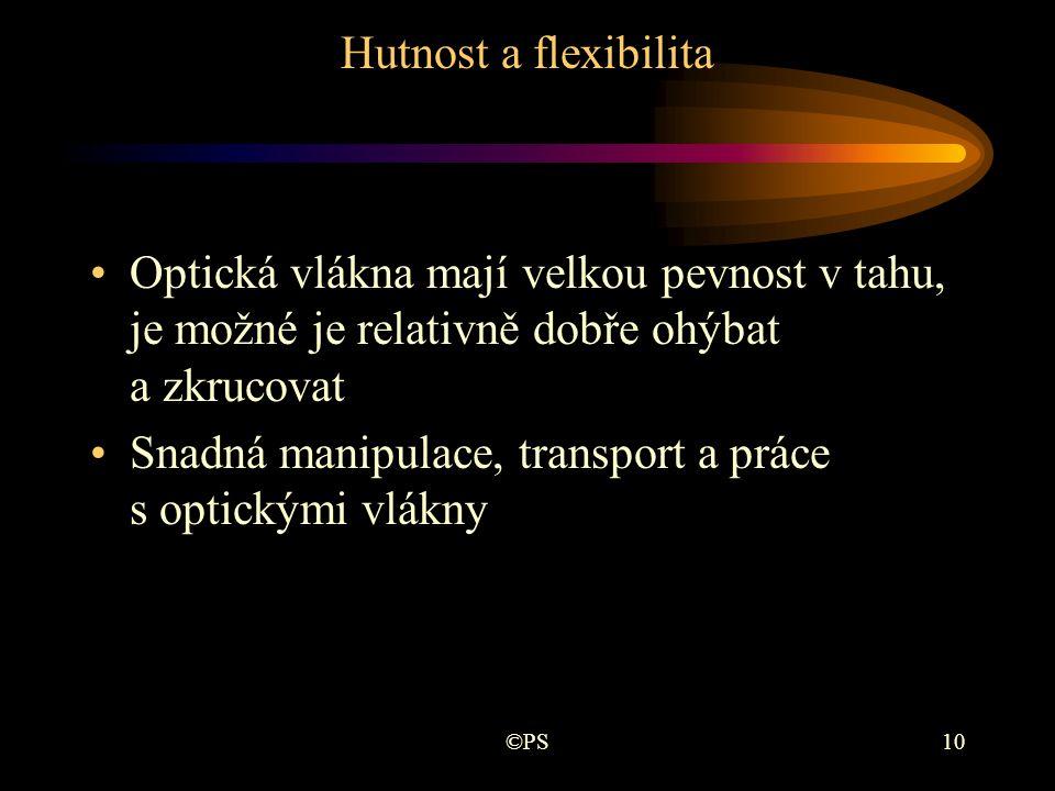 ©PS10 Hutnost a flexibilita •Optická vlákna mají velkou pevnost v tahu, je možné je relativně dobře ohýbat a zkrucovat •Snadná manipulace, transport a