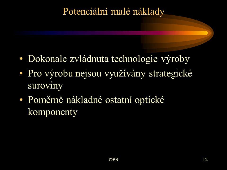 ©PS12 Potenciální malé náklady •Dokonale zvládnuta technologie výroby •Pro výrobu nejsou využívány strategické suroviny •Poměrně nákladné ostatní opti