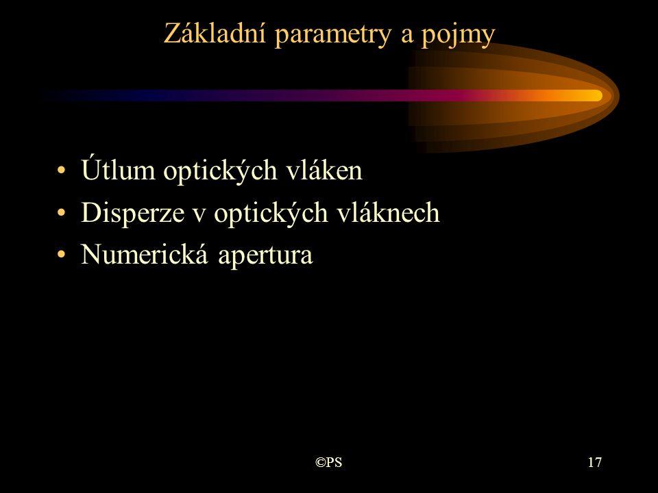 ©PS17 Základní parametry a pojmy •Útlum optických vláken •Disperze v optických vláknech •Numerická apertura