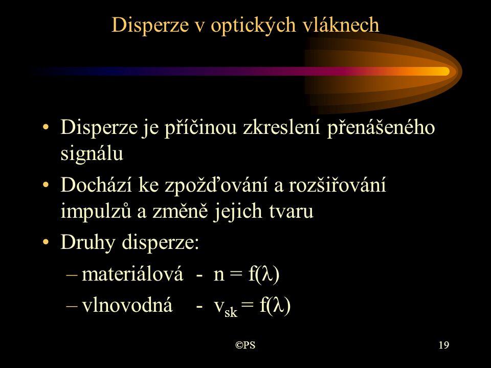 ©PS19 Disperze v optických vláknech •Disperze je příčinou zkreslení přenášeného signálu •Dochází ke zpožďování a rozšiřování impulzů a změně jejich tv