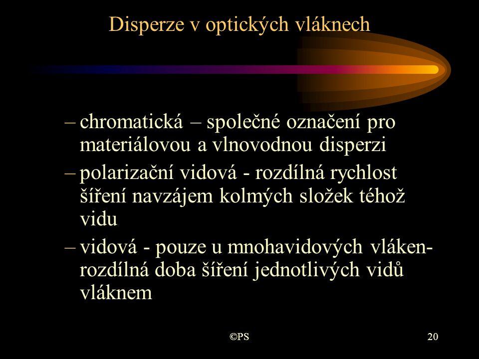 ©PS20 Disperze v optických vláknech –chromatická – společné označení pro materiálovou a vlnovodnou disperzi –polarizační vidová - rozdílná rychlost ší