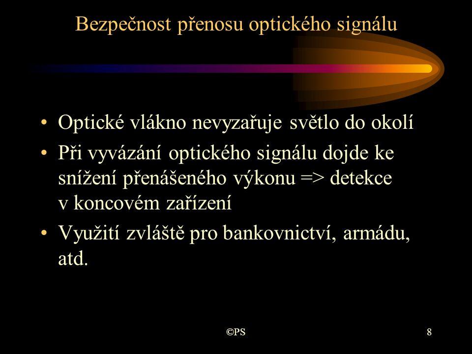 ©PS19 Disperze v optických vláknech •Disperze je příčinou zkreslení přenášeného signálu •Dochází ke zpožďování a rozšiřování impulzů a změně jejich tvaru •Druhy disperze: –materiálová - n = f(λ) –vlnovodná - v sk = f(λ)