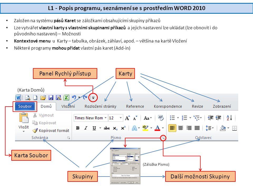 L1 - Popis programu, seznámení se s prostředím WORD 2010 • Založen na systému pásů Karet se záložkami obsahujícími skupiny příkazů • Lze vytvářet vlastní karty s vlastními skupinami příkazů a jejich nastavení lze ukládat (lze obnovit i do původního nastavení) – Možnosti • Kontextové menu u Karty – tabulka, obrázek, záhlaví, apod.
