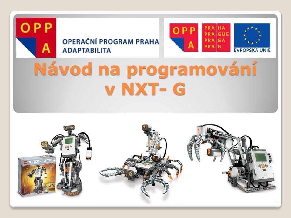 """Teoretický úvod O programu LEGO MINDSTORMS NXT:  Vytvořen podle vzoru programu LabVIEW od společnosti National Instruments  Programování založeno na principu drag–and- drop (""""táhni a pusť )  Využívá programovací jazyk NXT – G • G –> Graphical => grafický programovací jazyk • Program není psán slovně pomocí instrukcí, ale pomocí programovacích bloků, které se skládají za sebou 2"""