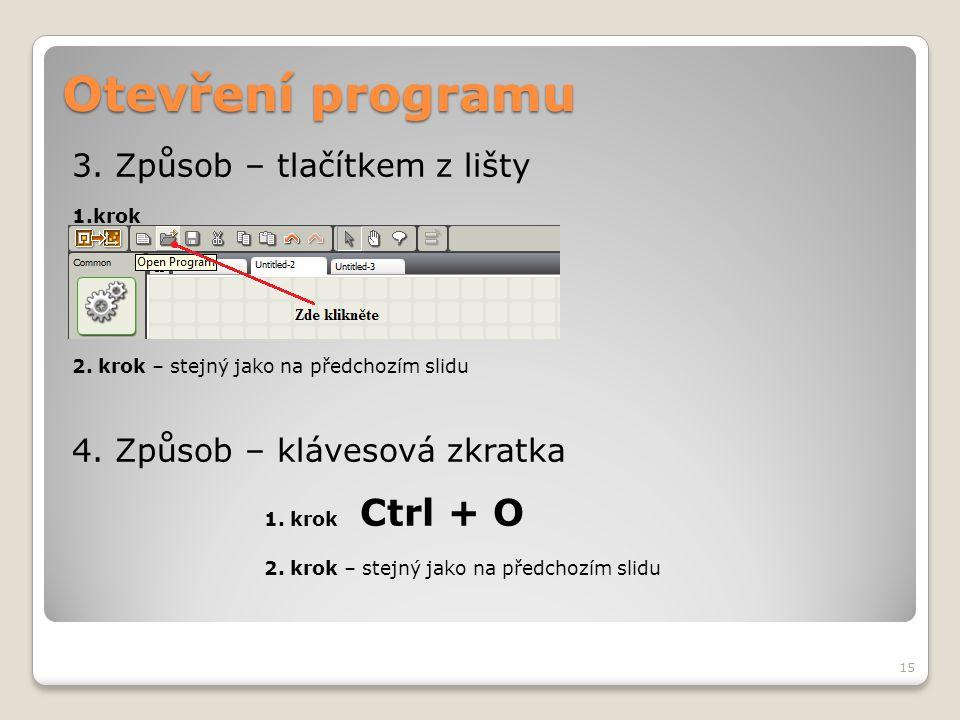 Otevření programu 3. Způsob – tlačítkem z lišty 1.krok 2. krok – stejný jako na předchozím slidu 4. Způsob – klávesová zkratka 1. krok Ctrl + O 2. kro