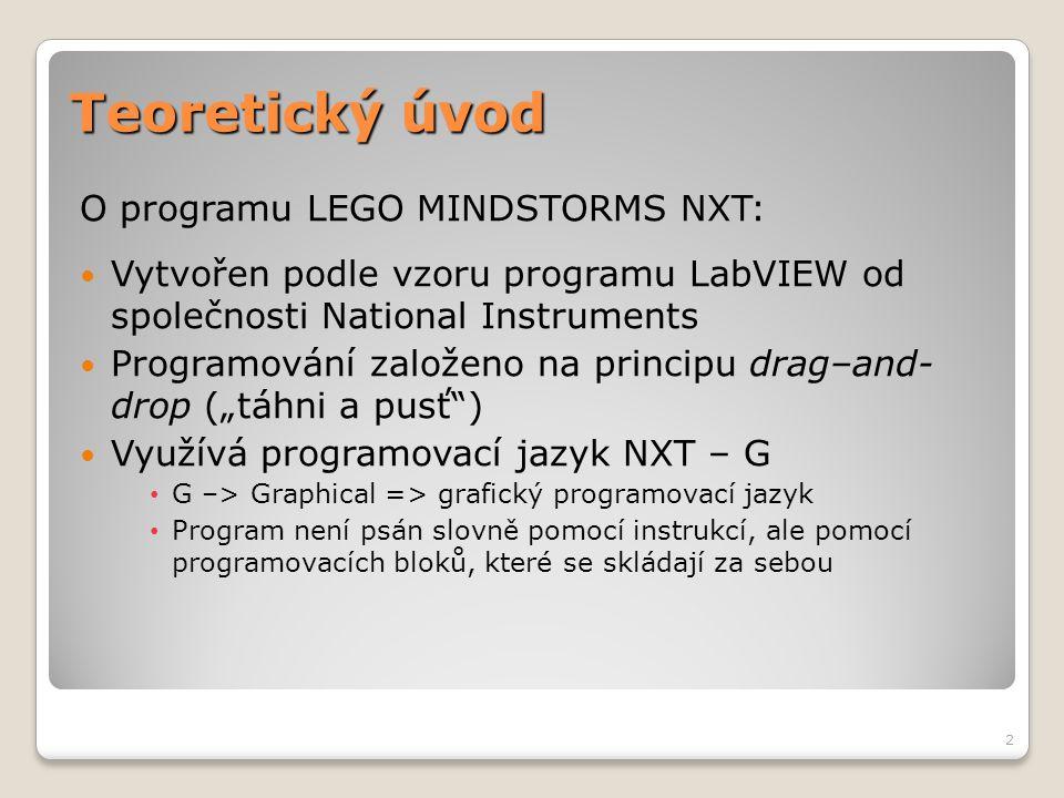 Teoretický úvod O programu LEGO MINDSTORMS NXT:  Vytvořen podle vzoru programu LabVIEW od společnosti National Instruments  Programování založeno na