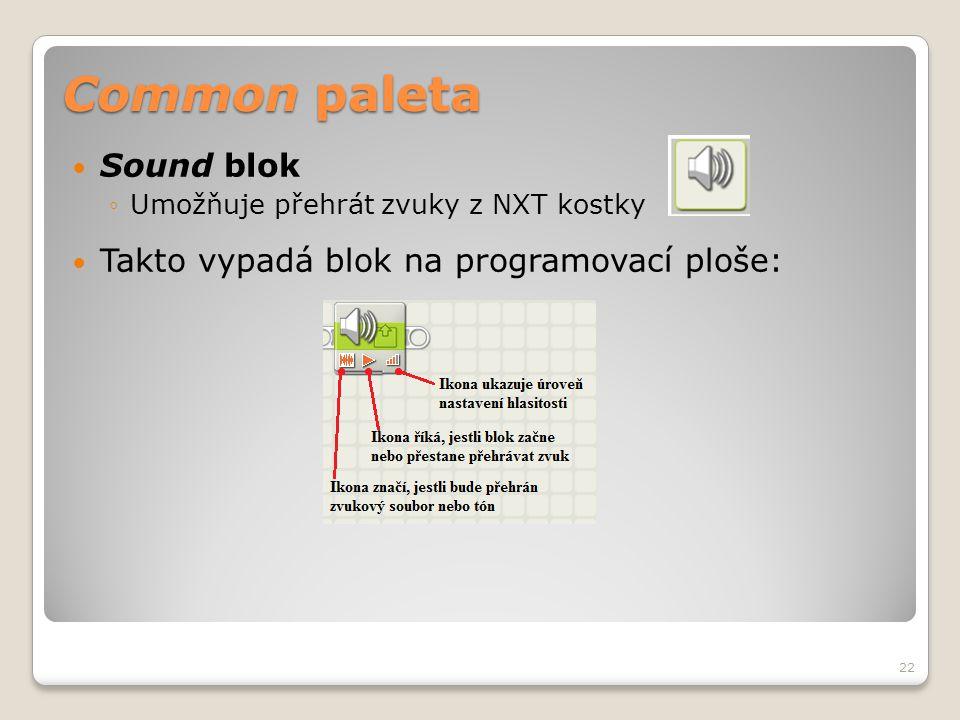 Common paleta  Sound blok ◦Umožňuje přehrát zvuky z NXT kostky  Takto vypadá blok na programovací ploše: 22