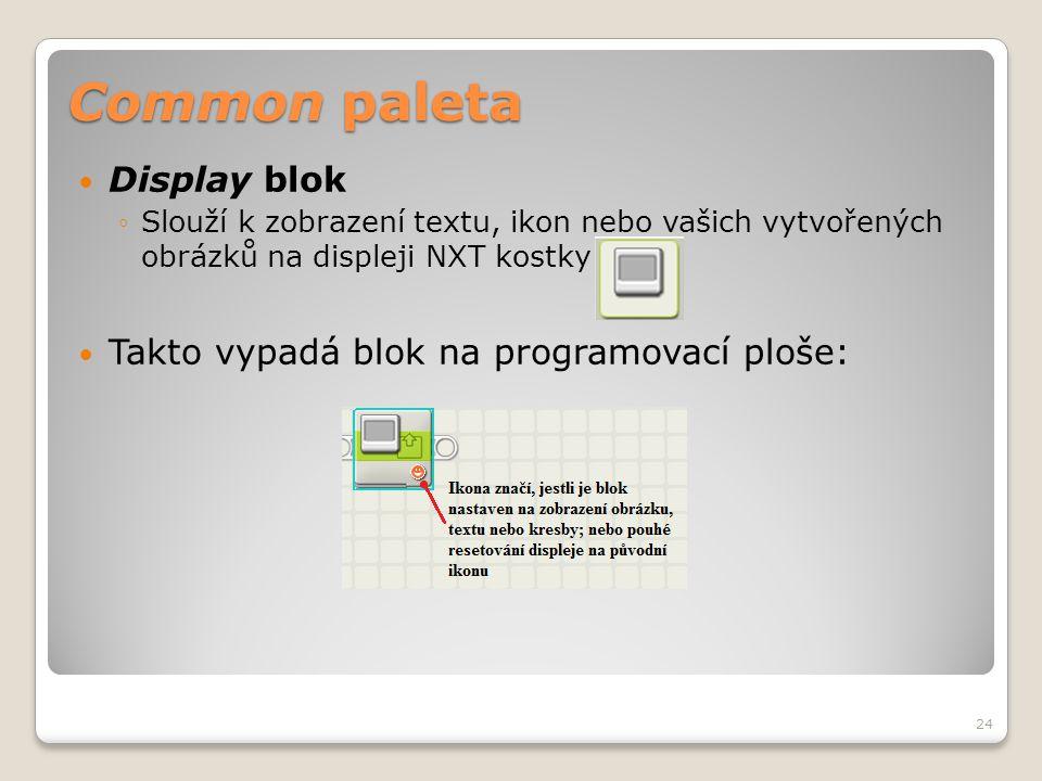 Common paleta  Display blok ◦Slouží k zobrazení textu, ikon nebo vašich vytvořených obrázků na displeji NXT kostky  Takto vypadá blok na programovac