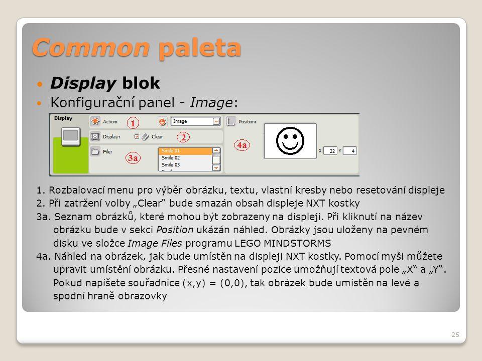 Common paleta  Display blok  Konfigurační panel - Image: 1. Rozbalovací menu pro výběr obrázku, textu, vlastní kresby nebo resetování displeje 2. Př