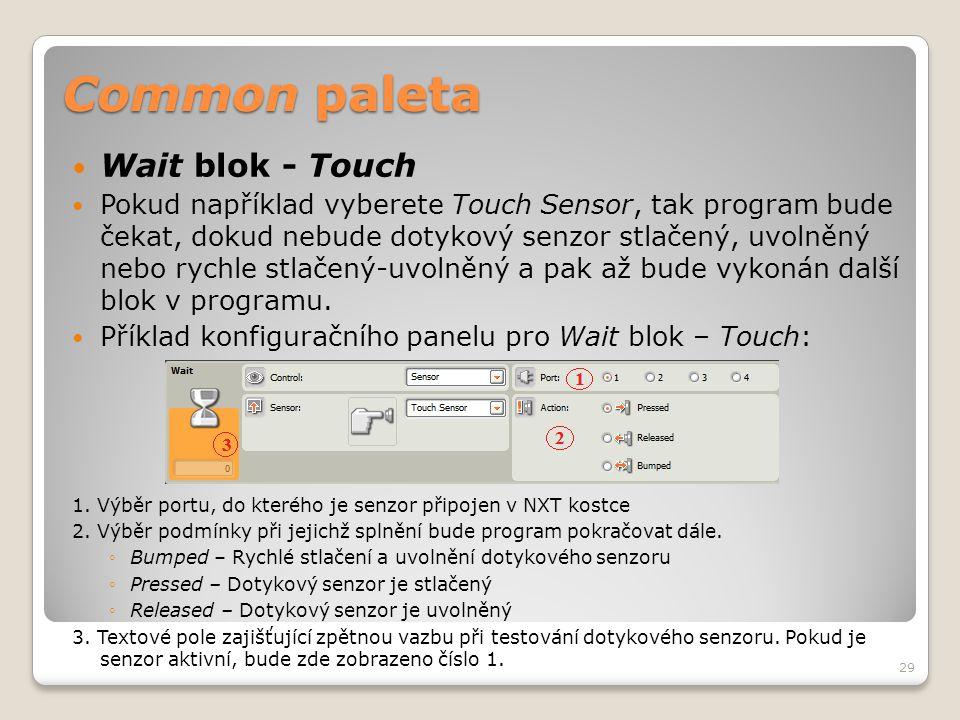 Common paleta  Wait blok - Touch  Pokud například vyberete Touch Sensor, tak program bude čekat, dokud nebude dotykový senzor stlačený, uvolněný neb