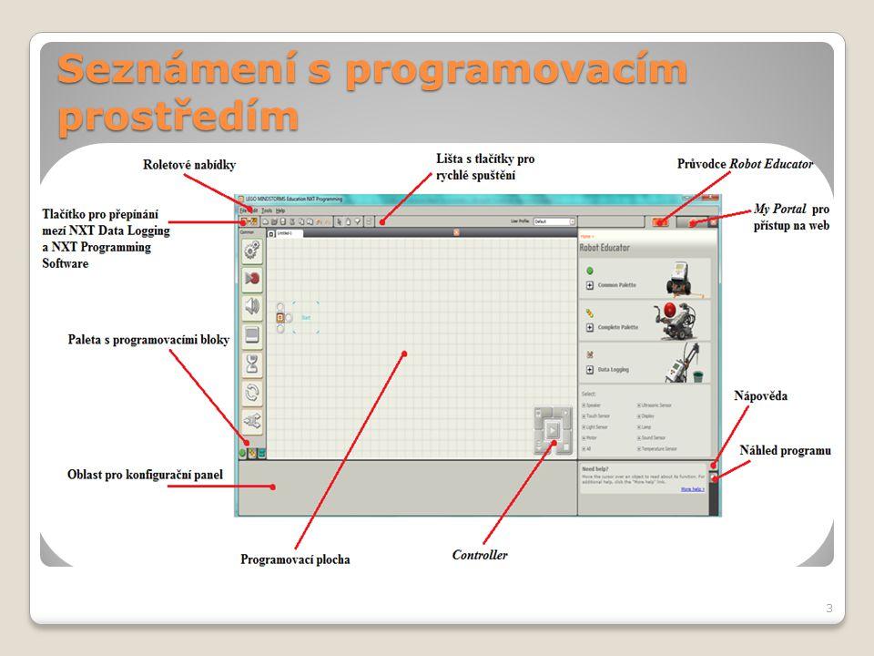 Seznámení s programovacím prostředím - Controller  Před použitím jakéhokoliv tlačítka je nutné mít připojenou NXT kostku k PC pomocí USB kabelu.
