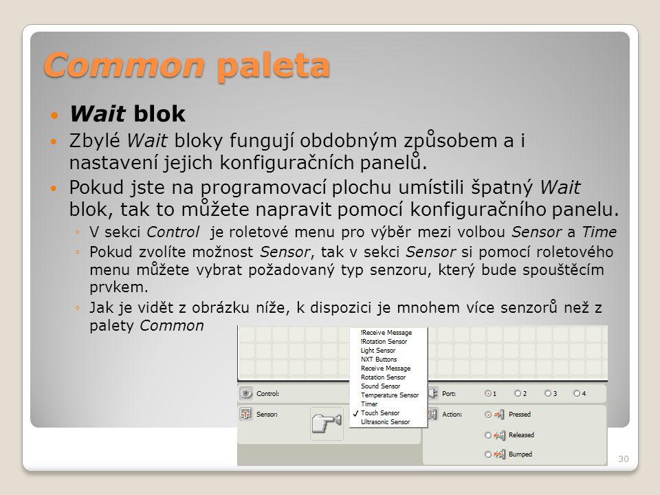 Common paleta  Wait blok  Zbylé Wait bloky fungují obdobným způsobem a i nastavení jejich konfiguračních panelů.  Pokud jste na programovací plochu