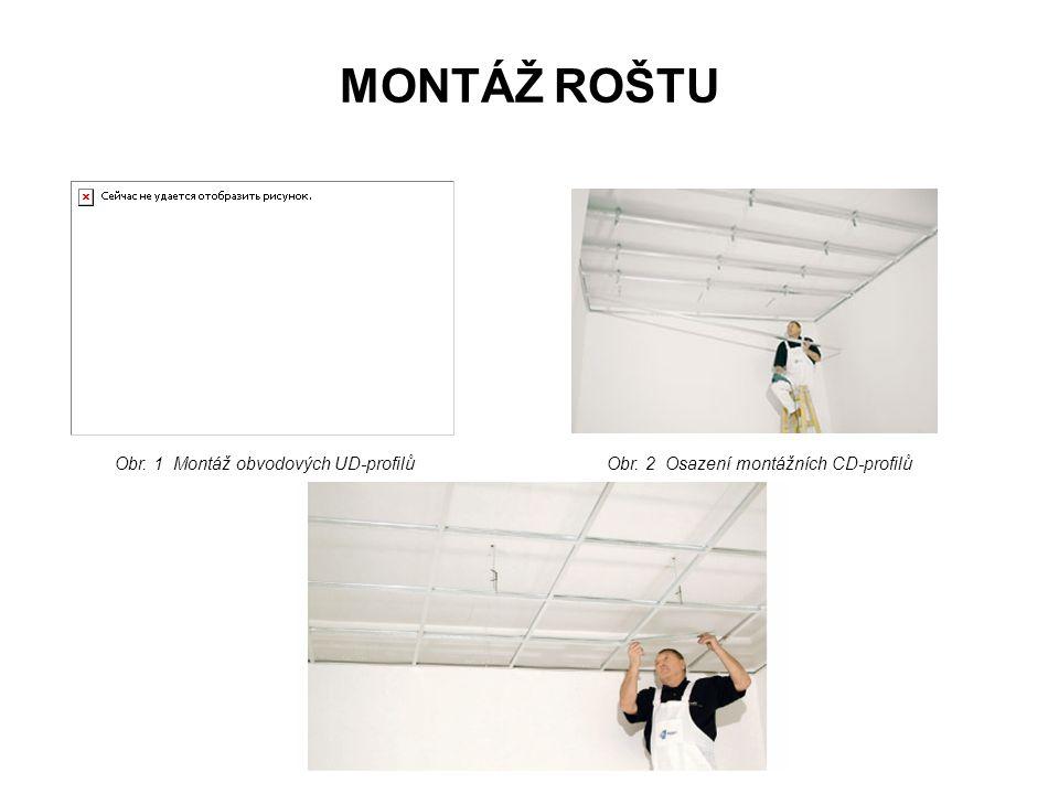 MONTÁŽ ROŠTU Obr. 1 Montáž obvodových UD-profilůObr. 2 Osazení montážních CD-profilů