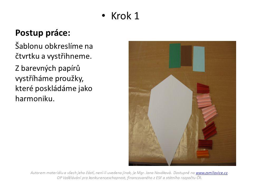 Postup práce: • Krok 1 Šablonu obkreslíme na čtvrtku a vystřihneme. Z barevných papírů vystříháme proužky, které poskládáme jako harmoniku. Autorem ma