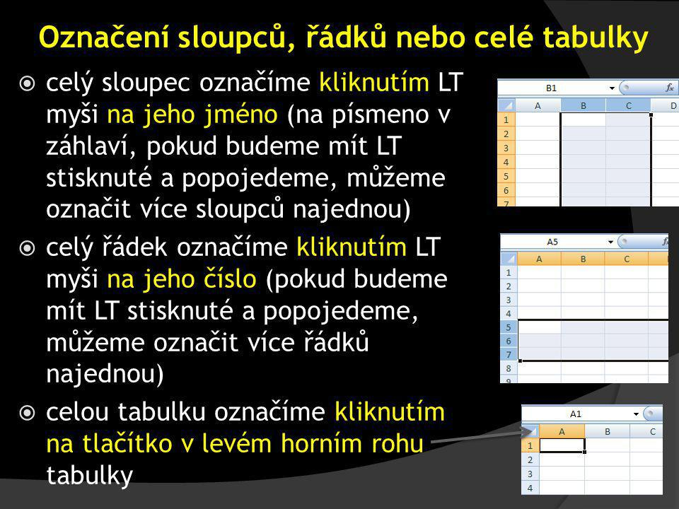 Záložka výplň Zde se nastavuje výplň a vzorky v buňkách, tj. pozadí pod textem