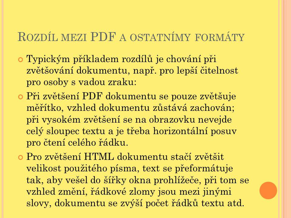 R OZDÍL MEZI PDF A OSTATNÍMY FORMÁTY Typickým příkladem rozdílů je chování při zvětšování dokumentu, např. pro lepší čitelnost pro osoby s vadou zraku