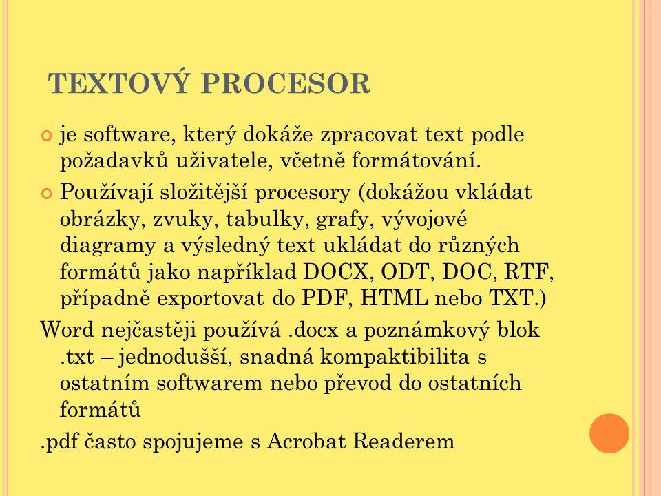 TEXTOVÝ PROCESOR je software, který dokáže zpracovat text podle požadavků uživatele, včetně formátování. Používají složitější procesory (dokážou vklád