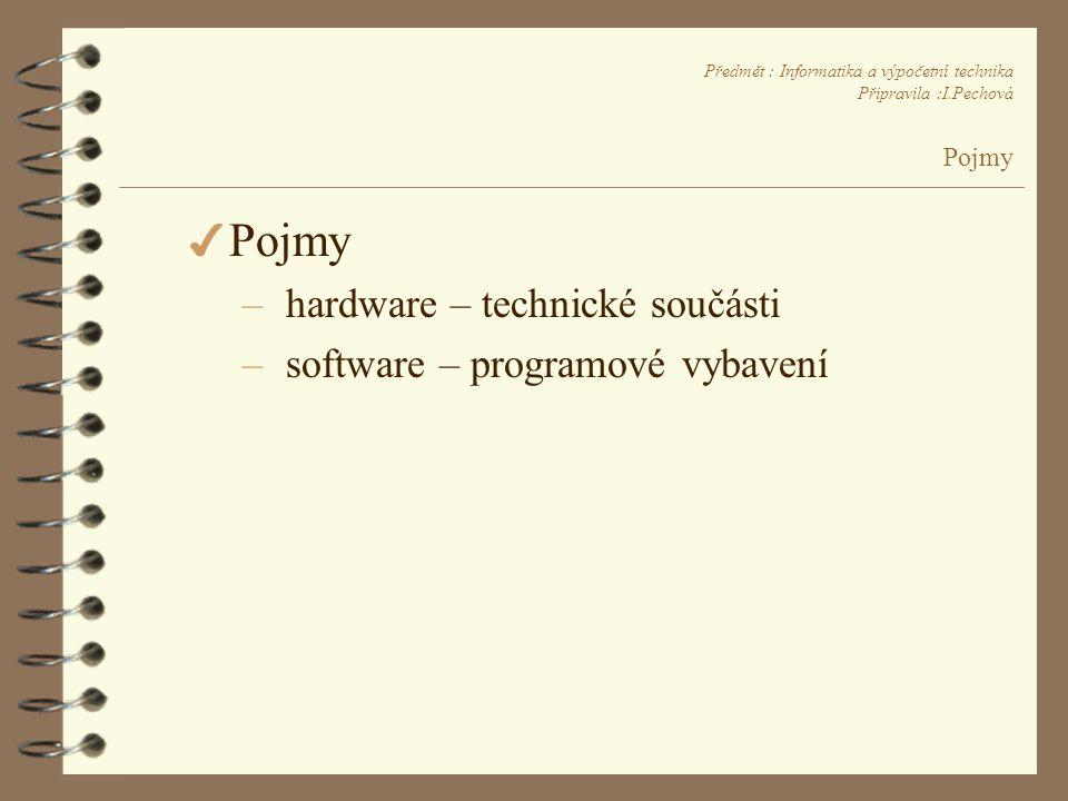 Předmět : Informatika a výpočetní technika Připravila :I.Pechová Pojmy 4 Pojmy – hardware – technické součásti – software – programové vybavení