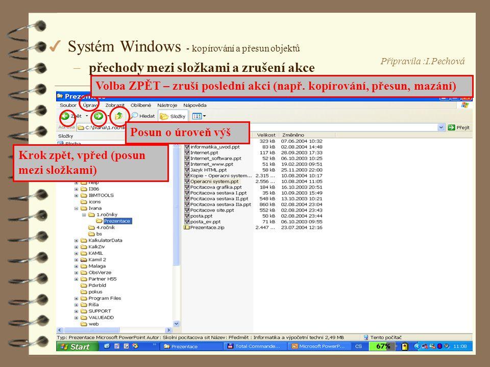 Připravila :I.Pechová 4 Systém Windows - kopírování a přesun objektů –přechody mezi složkami a zrušení akce Posun o úroveň výš Krok zpět, vpřed (posun mezi složkami) Volba ZPĚT – zruší poslední akci (např.
