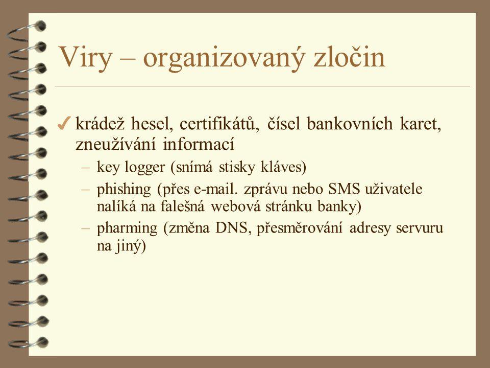 Viry – organizovaný zločin 4 krádež hesel, certifikátů, čísel bankovních karet, zneužívání informací –key logger (snímá stisky kláves) –phishing (přes e-mail.