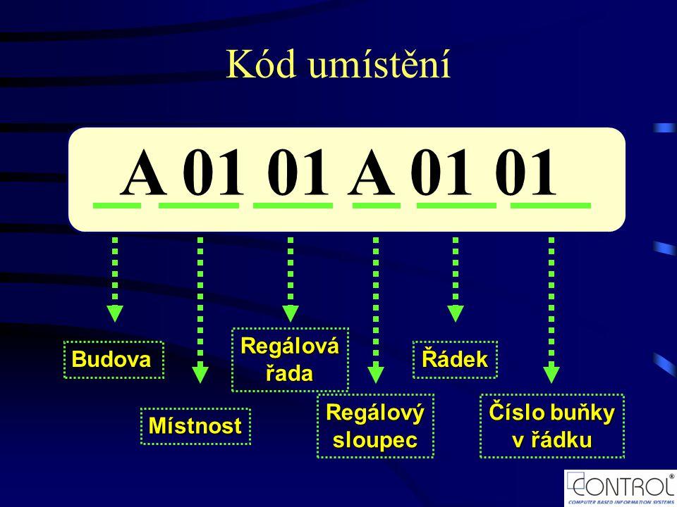 A 01 01 Budova Místnost Regálovářada Regálovýsloupec Řádek Číslo buňky v řádku Kód umístění