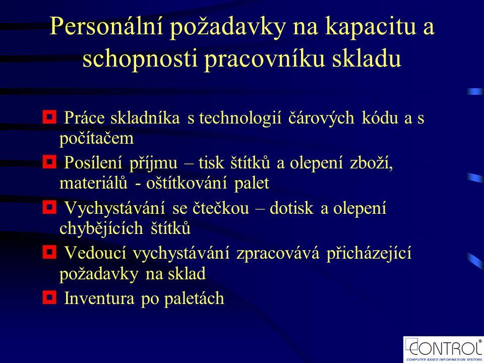 Personální požadavky na kapacitu a schopnosti pracovníku skladu  Práce skladníka s technologií čárových kódu a s počítačem  Posílení příjmu – tisk š