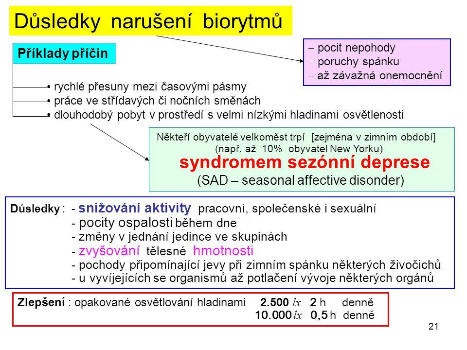 21 Důsledky narušení biorytmů  pocit nepohody  poruchy spánku  až závažná onemocnění Příklady příčin • rychlé přesuny mezi časovými pásmy • práce