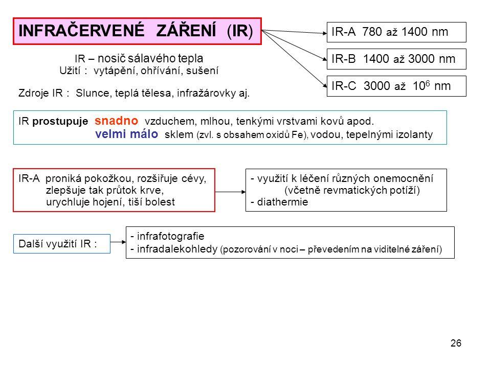26 INFRAČERVENÉ ZÁŘENÍ (IR) IR-A 780 až 1400 nm IR-B 1400 až 3000 nm IR-C 3000 až 10 6 nm Zdroje IR : Slunce, teplá tělesa, infražárovky aj. IR prostu