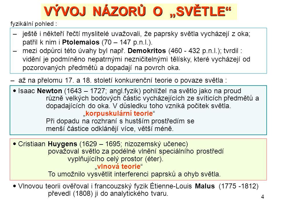 """4 VÝVOJ NÁZORŮ O """"SVĚTLE"""" fyzikální pohled : – ještě i někteří řečtí myslitelé uvažovali, že paprsky světla vycházejí z oka; patřil k nim i Ptolemaios"""