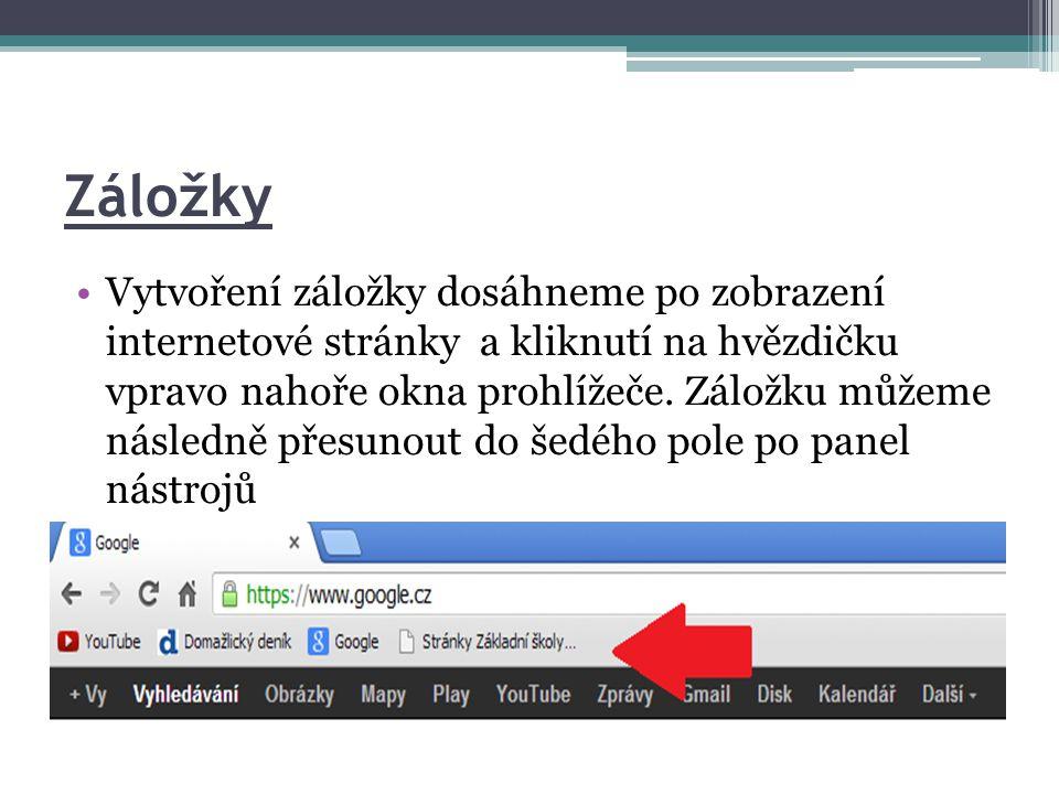 •Vytvoření záložky dosáhneme po zobrazení internetové stránky a kliknutí na hvězdičku vpravo nahoře okna prohlížeče.