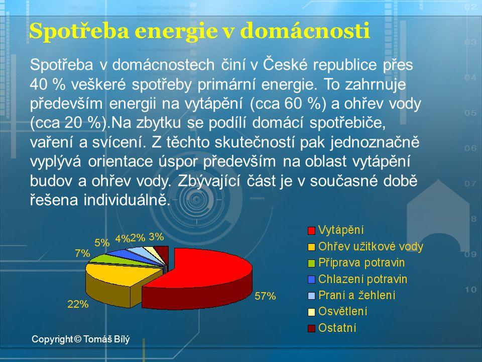 Spotřeba energie v domácnosti Spotřeba v domácnostech činí v České republice přes 40 % veškeré spotřeby primární energie. To zahrnuje především energi
