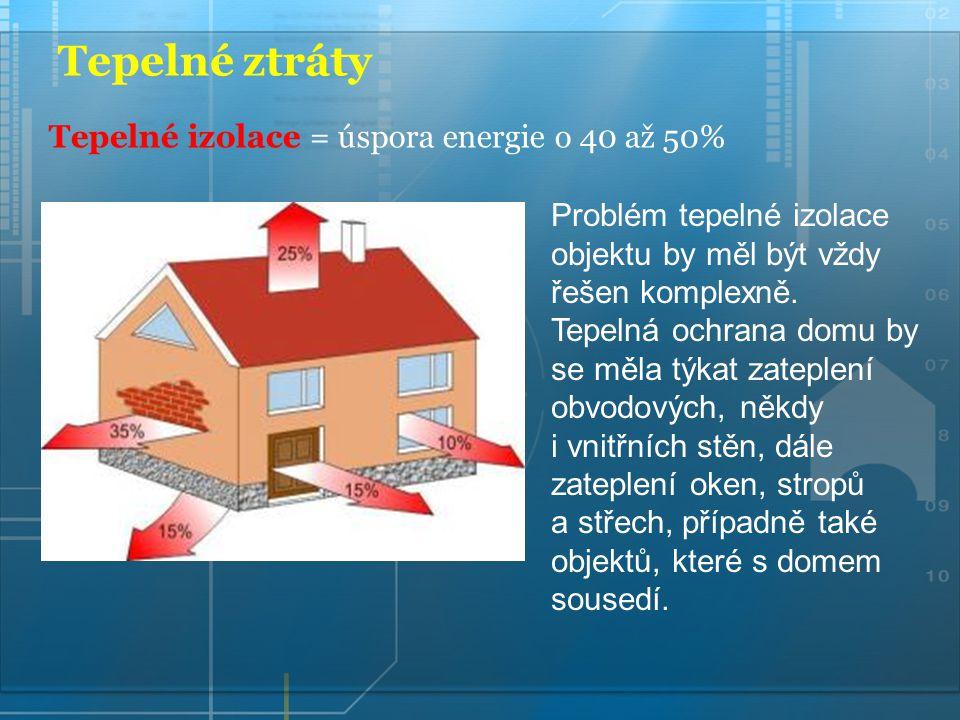 Tepelné ztráty Problém tepelné izolace objektu by měl být vždy řešen komplexně. Tepelná ochrana domu by se měla týkat zateplení obvodových, někdy i vn