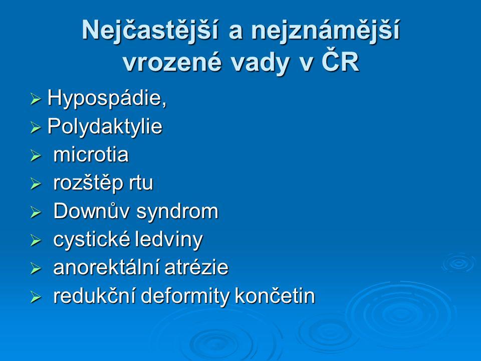 Nejčastější a nejznámější vrozené vady v ČR  Hypospádie,  Polydaktylie  microtia  rozštěp rtu  Downův syndrom  cystické ledviny  anorektální at