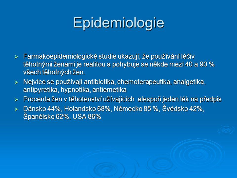 Epidemiologie  Farmakoepidemiologické studie ukazují, že používání léčiv těhotnými ženami je realitou a pohybuje se někde mezi 40 a 90 % všech těhotných žen.