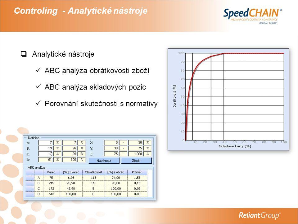 Controling - Analytické nástroje  Analytické nástroje  ABC analýza obrátkovosti zboží  ABC analýza skladových pozic  Porovnání skutečnosti s norma