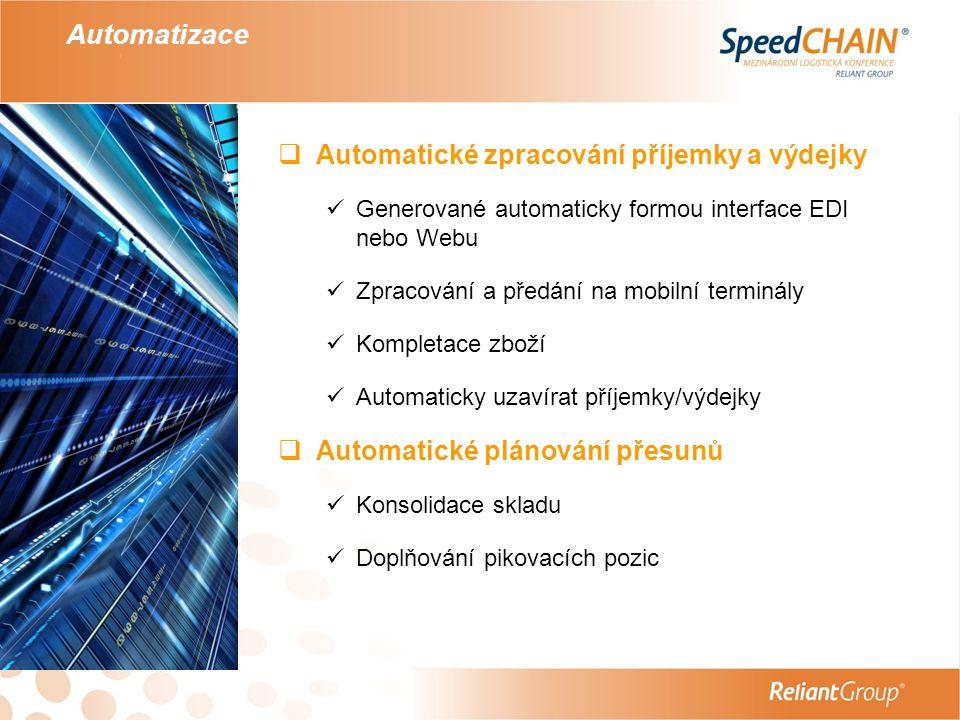 Automatizace  Automatické zpracování příjemky a výdejky  Generované automaticky formou interface EDI nebo Webu  Zpracování a předání na mobilní ter