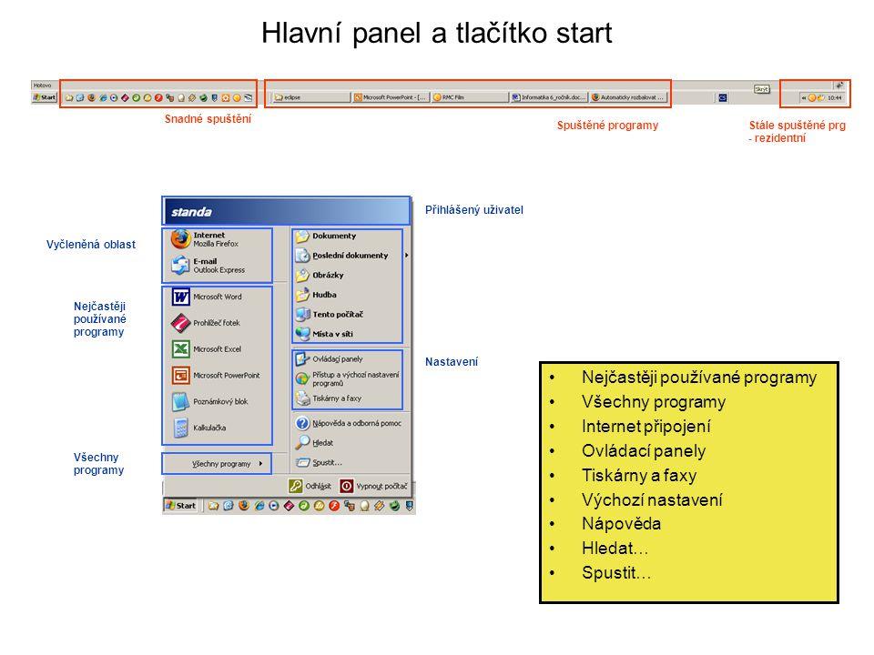 Hlavní panel a tlačítko start Snadné spuštění Spuštěné programyStále spuštěné prg - rezidentní Přihlášený uživatel Vyčleněná oblast Nejčastěji používa