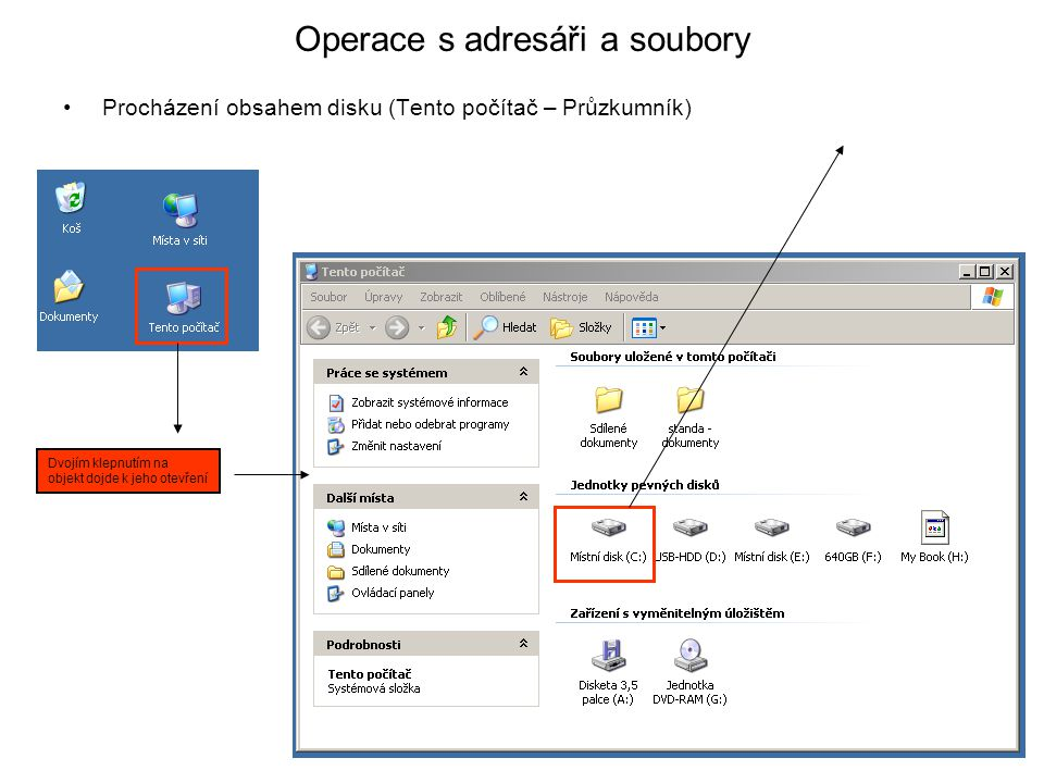 Operace s adresáři a soubory •Procházení obsahem disku (Tento počítač – Průzkumník) Dvojím klepnutím na objekt dojde k jeho otevření