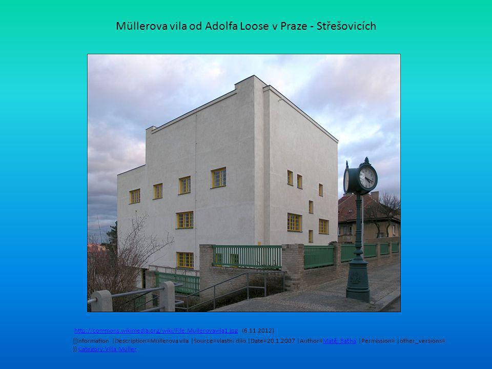 Müllerova vila od Adolfa Loose v Praze - Střešovicích http://commons.wikimedia.org/wiki/File:Mullerovavila1.jpg (6.11.2012)http://commons.wikimedia.org/wiki/File:Mullerovavila1.jpg {{Information |Description=Müllerova vila |Source=vlastní dílo |Date=20.1.2007 |Author=Matěj Baťha |Permission= |other_versions= }} Category:Villa MüllerMatěj BaťhaCategory:Villa Müller