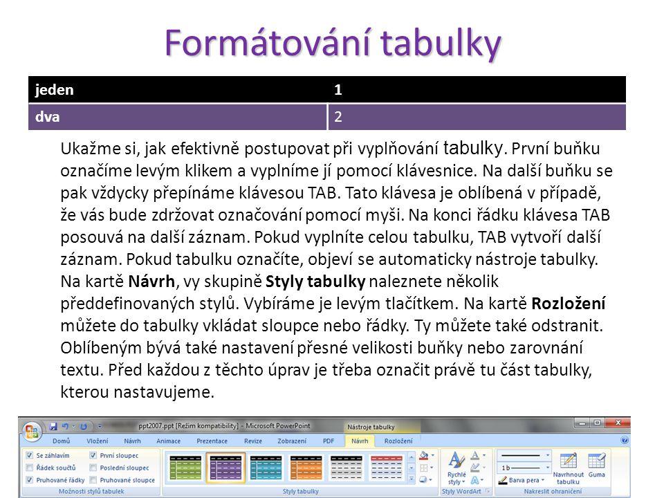 Tvorba tabulky Jedna varianta je vytvořit v prezentaci nový snímek s rozložením nadpis a obsah. V poli obsahu je možné vybrat tabulku. Objeví se okno,