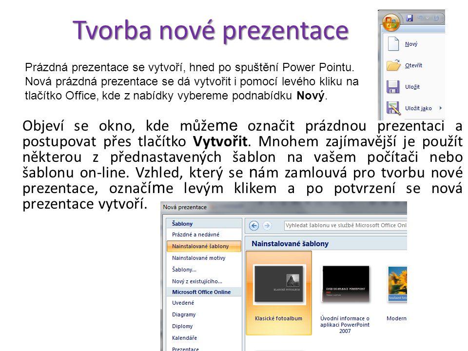 Popis prostředí Power Point 2007 V okně aplikace Power Point nalezneme následující prvky. Prvním z nich je tlačítko Office. Klepnutím sem můžete preze