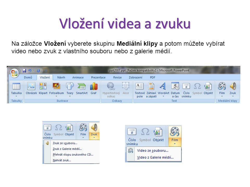 Formát tlačítka Vložená tlačítka je možné dále naformátovat, aby se do vaší prezentace lépe hodila. Pokud tlačítko označíte levým klikem, automaticky