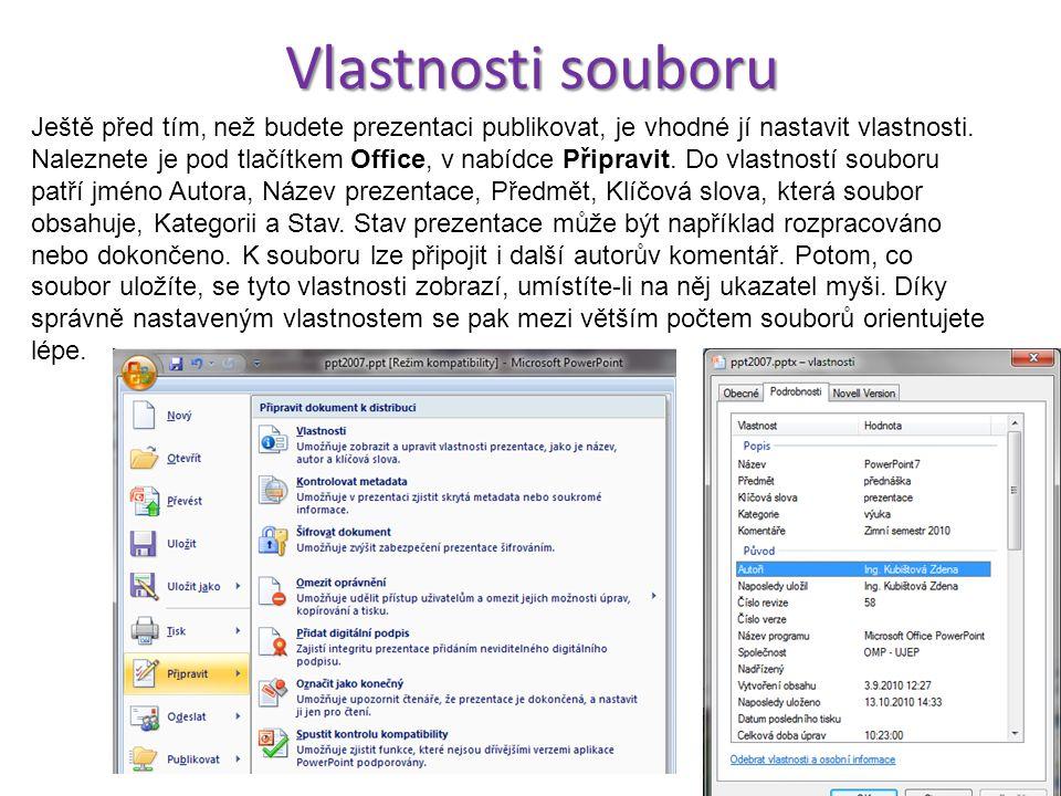 TISK Pod tlačítkem Office vybereme nabídku Tisk a podnabídku Tisk. Zobrazí se okno, kde nastavíme vše potřebné pro tisk.