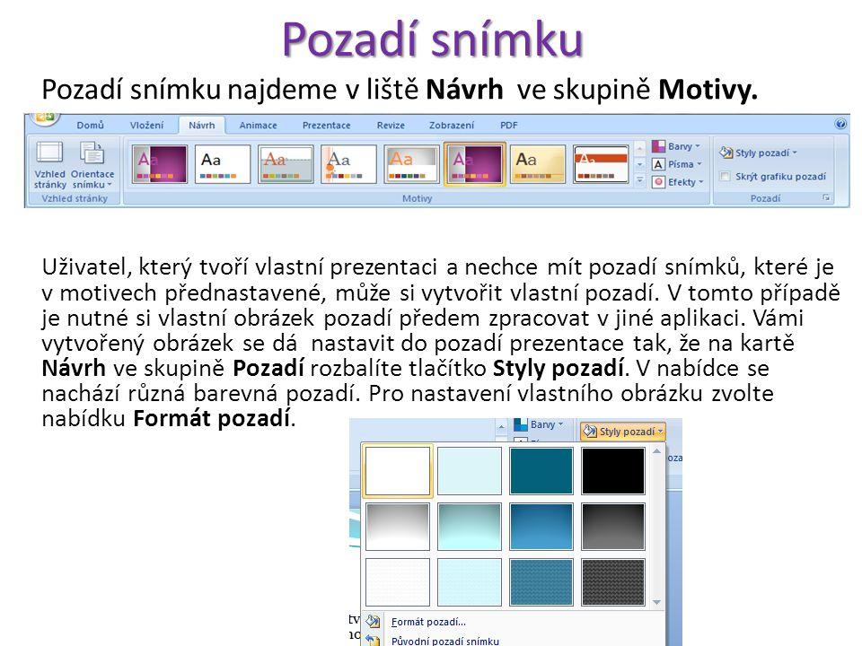 Pozadí snímku Pozadí snímku najdeme v liště Návrh ve skupině Motivy.