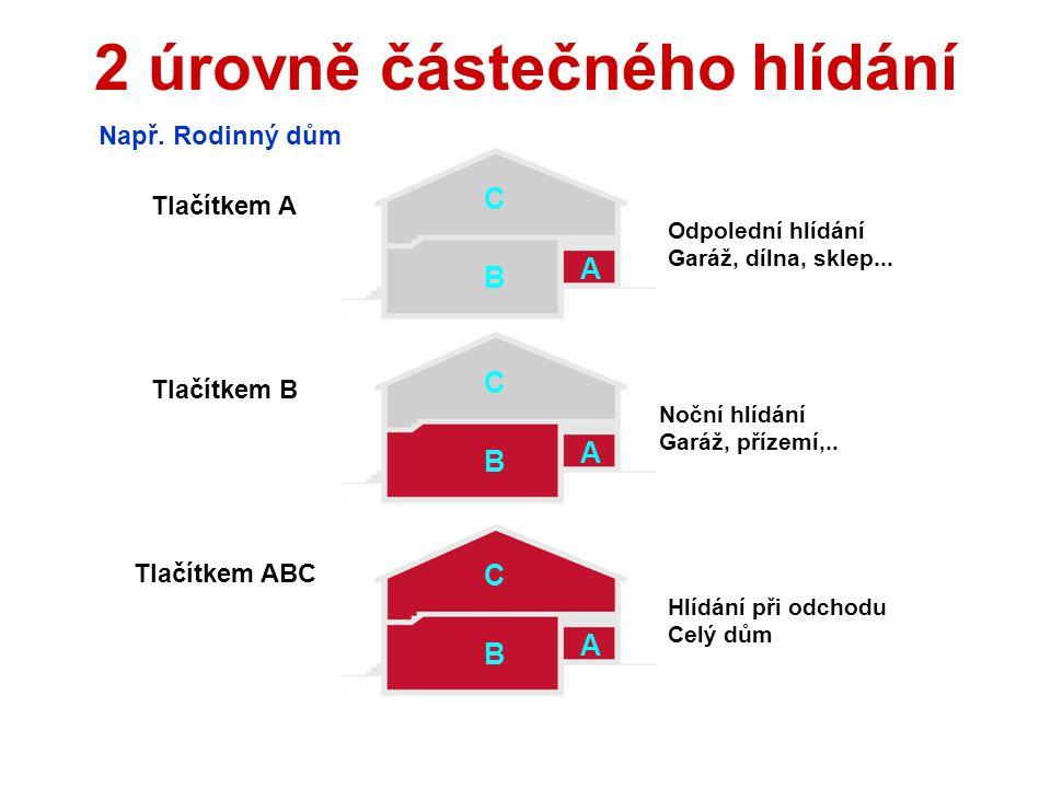 Ovládání z klávesnice 1 Karta / kódOdjištění (zajištění) ABCZajištění celého domu AOdpolední hlídání (garáž) BNoční hlídání (garáž + přízemí) ?Zobraze