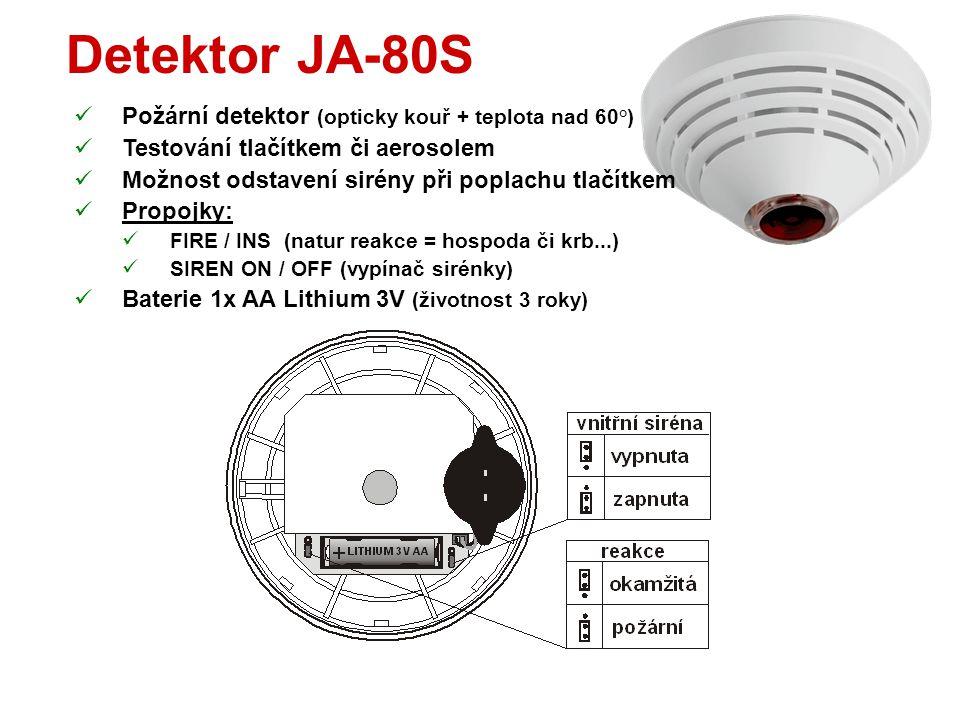 Detektor JA-80M  Magnetický detektor otevření dveří / okna  Stavový detektor (lze vypnout TMP při zapínání baterie)  Přepínače:  DEL / INS (natur