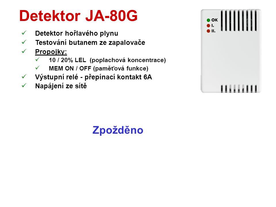 Detektor JA-80S  Požární detektor (opticky kouř + teplota nad 60°)  Testování tlačítkem či aerosolem  Možnost odstavení sirény při poplachu tlačítk