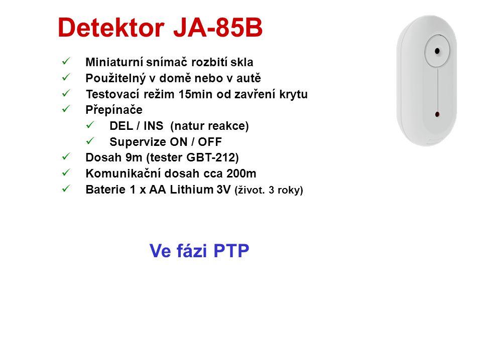 Detektor JA-85P  Miniaturní PIR snímač pohybu  Použitelný v domě nebo v autě (CA-1802 a 1803)  Testovací režim 15 min od zavření krytu  Přepínače