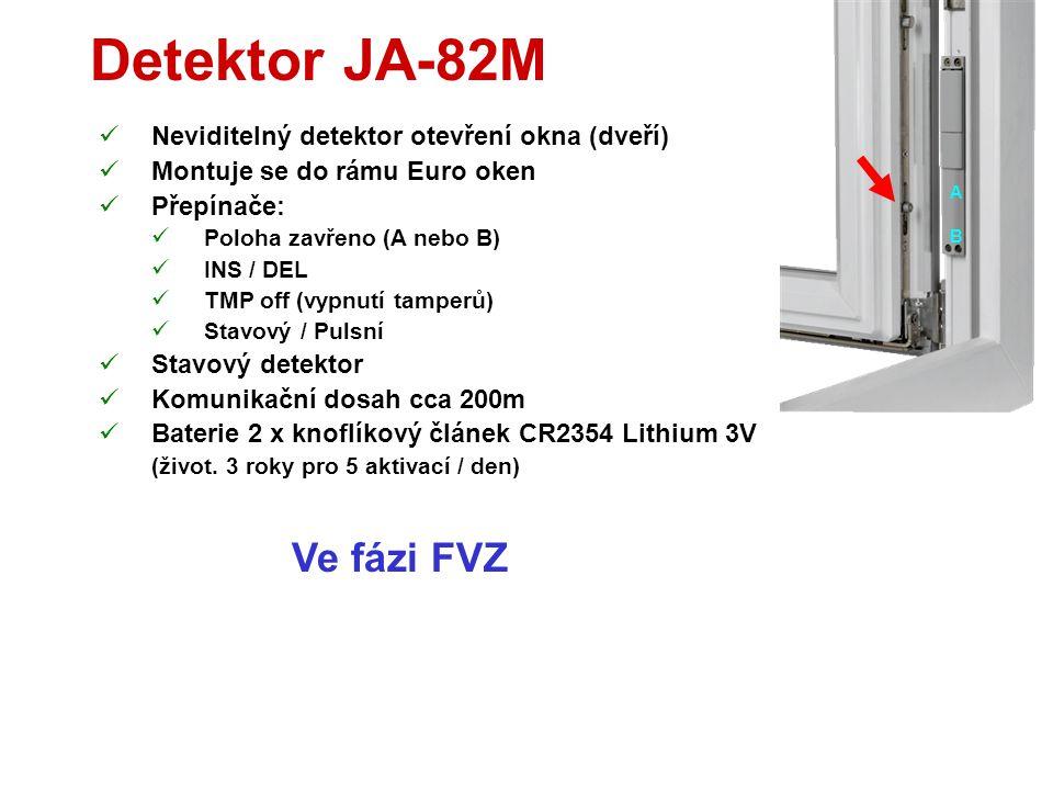 Detektor JA-85B  Miniaturní snímač rozbití skla  Použitelný v domě nebo v autě  Testovací režim 15min od zavření krytu  Přepínače  DEL / INS (nat
